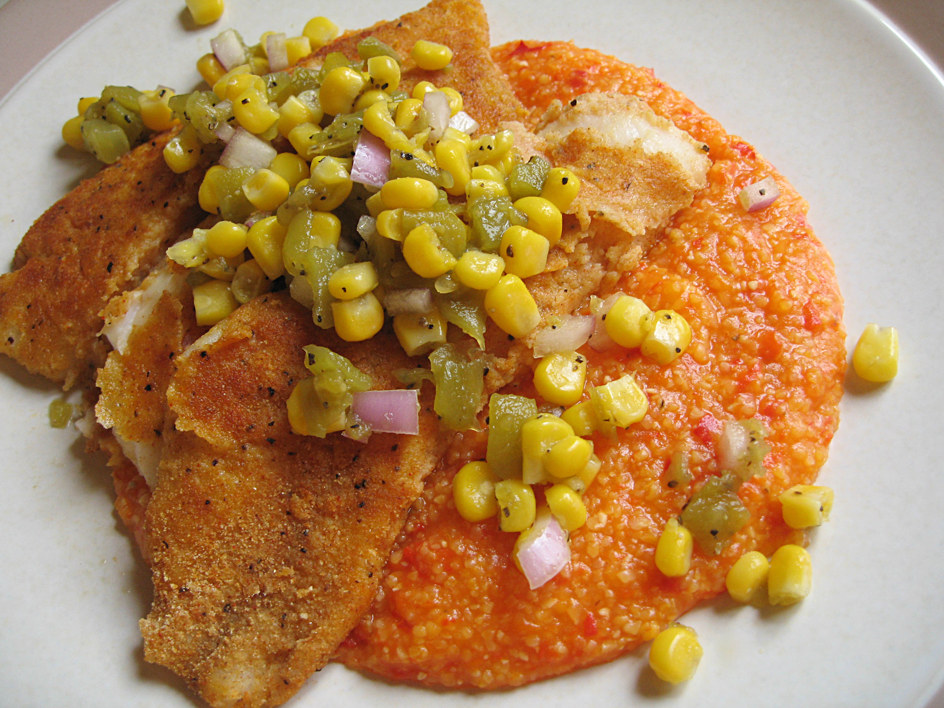Cornmeal-Crusted Tilapia with Roasted Red Pepper Polenta | Our Life in ...