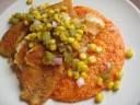Cornmeal-Crusted Tilapia with Roasted Red Pepper Polenta