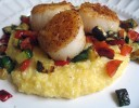 Cumin-Crusted Scallops over Pepperjack Polenta with Roasted Vegetables