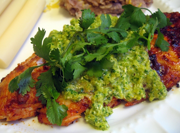 Seasoned Tilapia with Yellow Pepper Cilantro Pesto