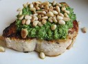 Lemon Pesto Swordfish with Pine Nuts