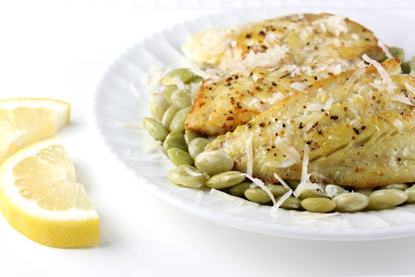 Lemon Pepper Perch with Lima Beans