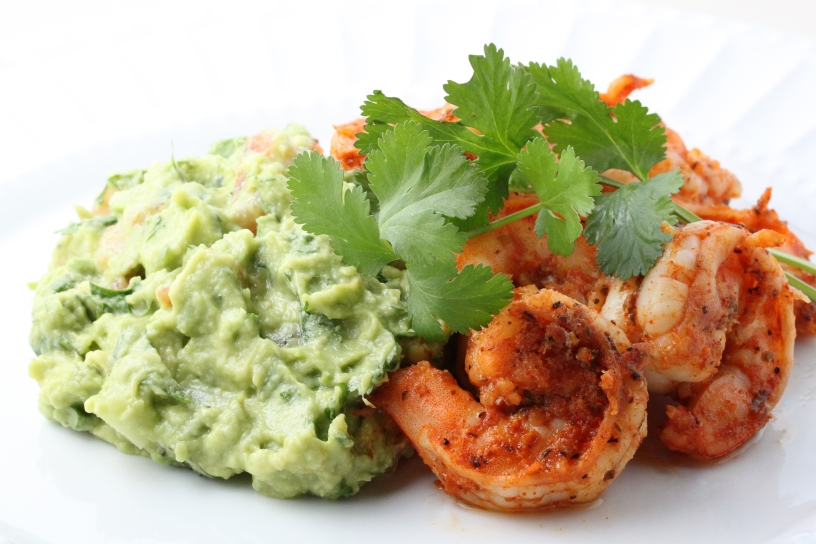 Spicy Shrimp with Guacamole and Lime