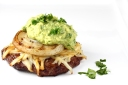 Beef Burgers with Grilled Onion Slices and Mashed Avocado