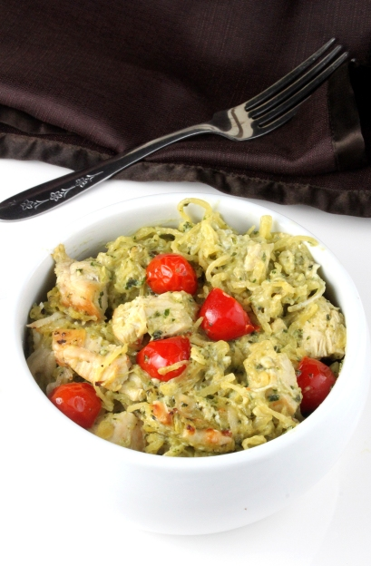 Cheesy Pesto Spaghetti Squash Bake with Chicken and Tomatoes