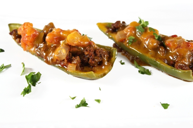 Anaheim Peppers stuffed with Beef, Salsa, and Cheddar