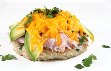Chicken and White Bean Burgers with Ham, Avocado, and Cheddar