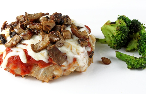 Chicken and White Bean Burgers with Marinara, Mozzarella, and Mushrooms
