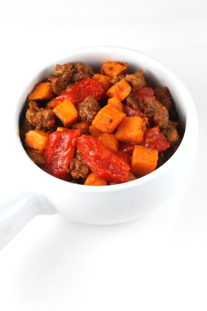 Chorizo and Sweet Potato Hash with Pimientos