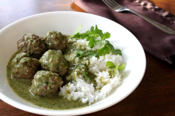Meatball Curry with Cilantro Coconut Sauce