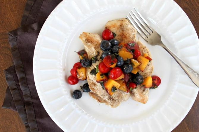 Sauteed Chicken with Blueberry Peach Salsa